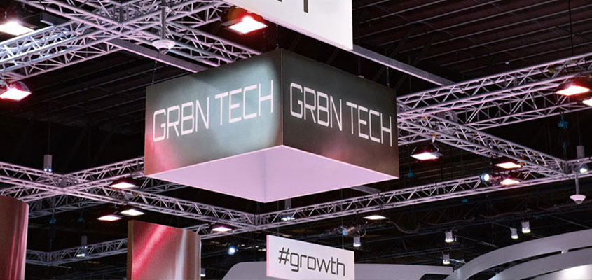 trade show display tip shown on GRBN Tech hanging display example