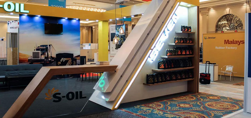 trade show booth success tip on S-Oil branded display example