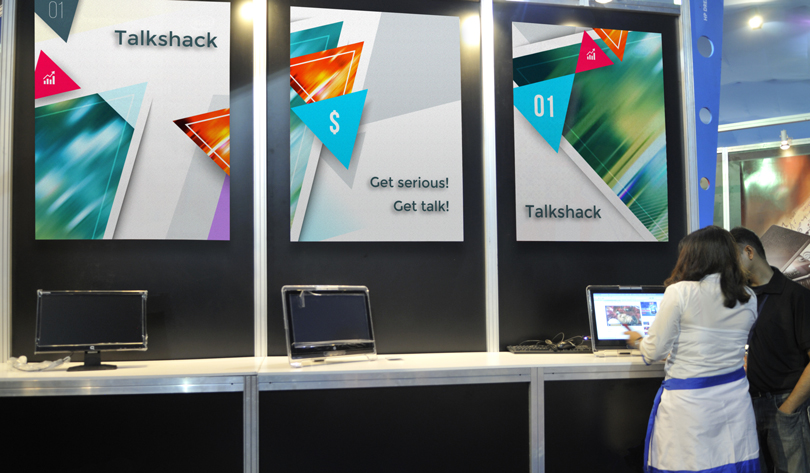 Talkshack trade show booth design example with posters