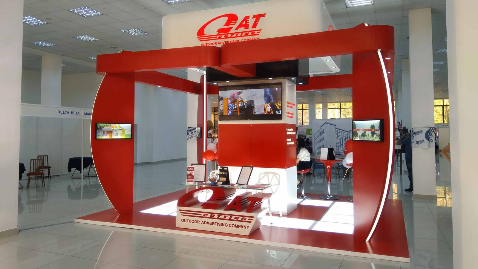 GAT Cutting trade show booth design example-FrontSigns
