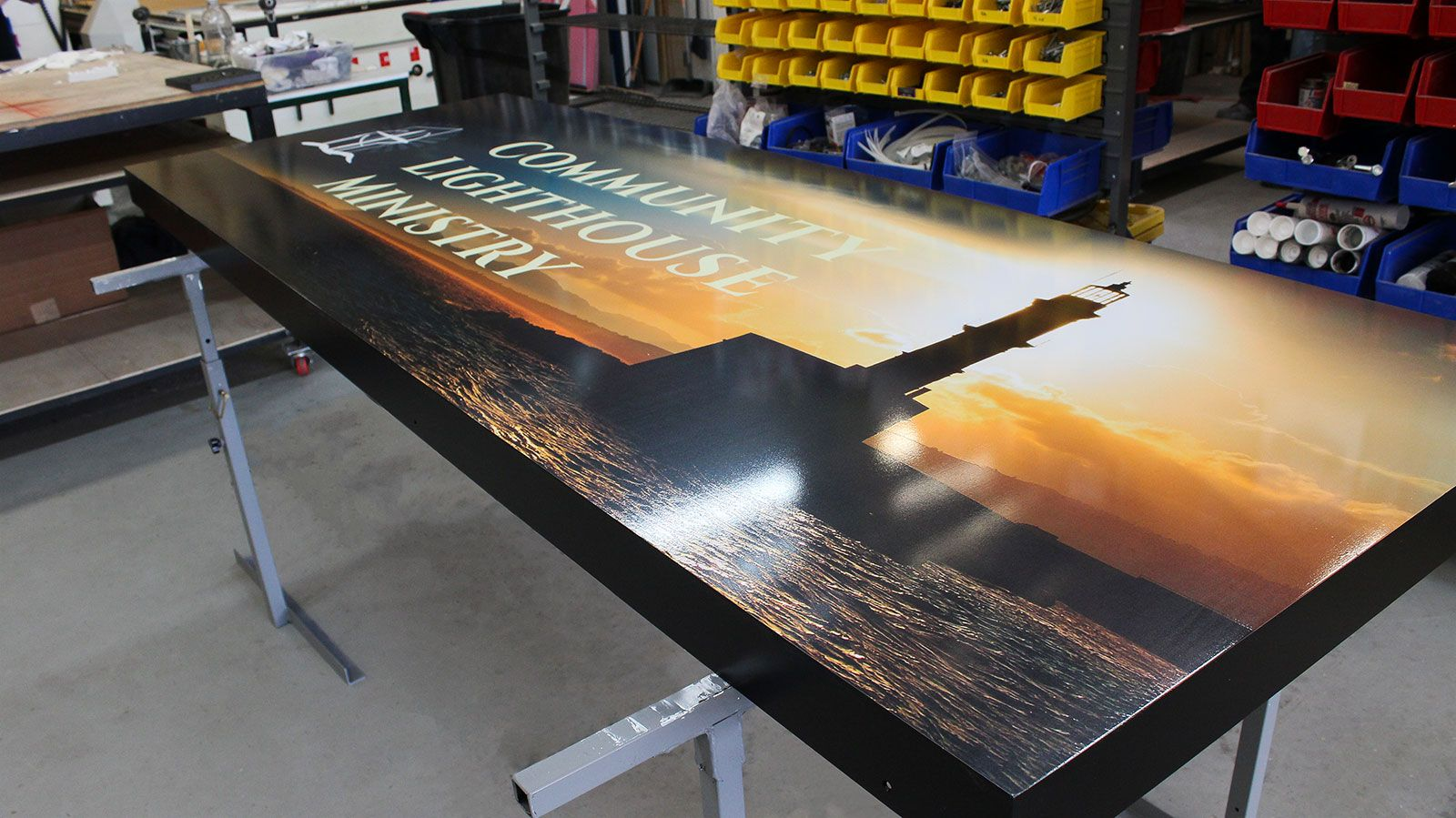 Aluminum and vinyl signage