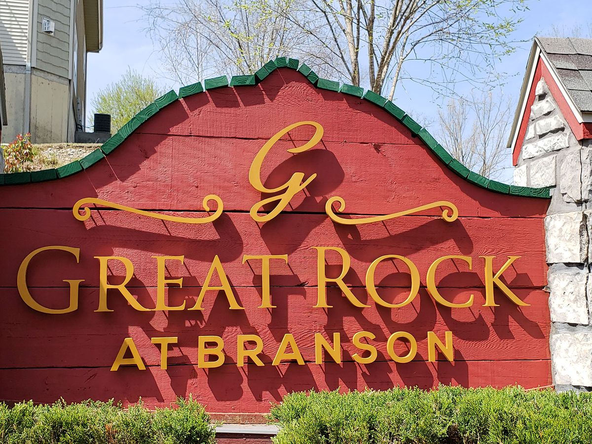 Great Rock at Branson 3d metal sign displaying the company name and logo made of aluminum