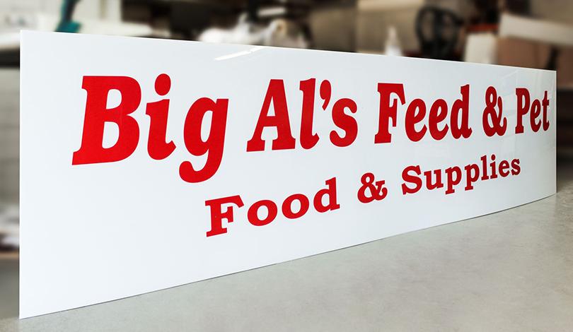 Big Al's Feed & Pet lexan business logo-Frontsigns
