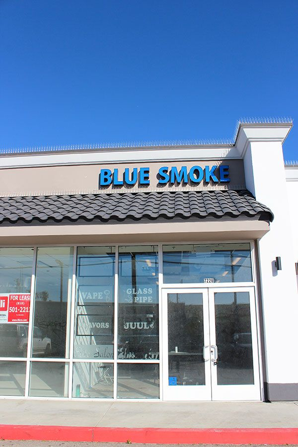 Blue Smoke 3d sign displaying the company name made of aluminum and acrylic