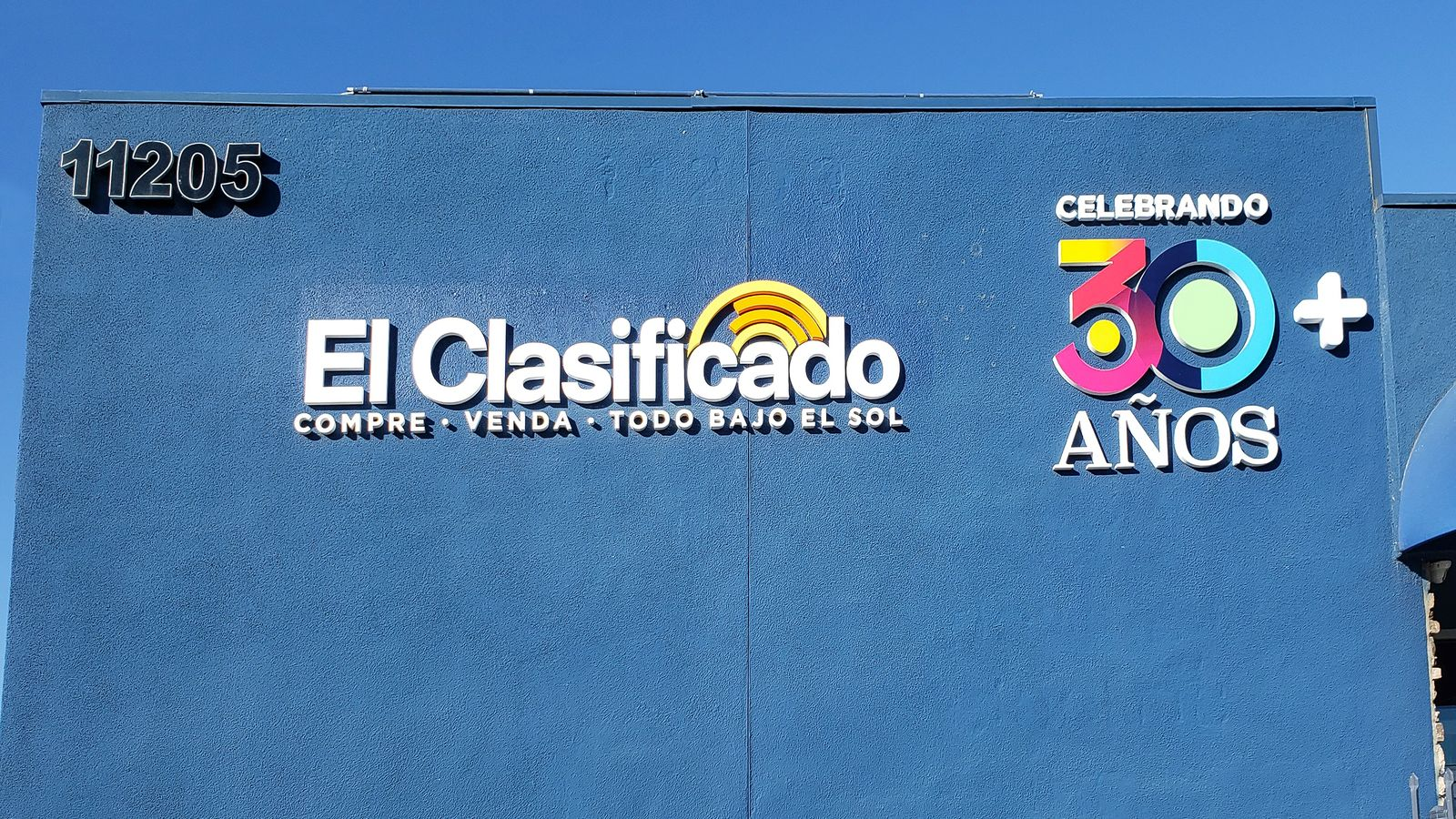 El Clasificado 3d sign custom-made painted in bright colors displaying branded information made of PVC for outdoor branding