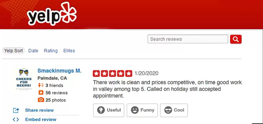 Frontsign's Yelp 5 star review among companies that make business signs