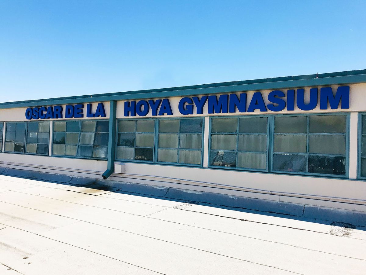 Oscar De La Hoya Gymnasium 3d metal letters in blue with the school name made of aluminum