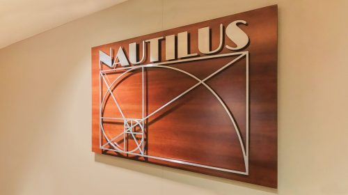 Nautilus wooden sign