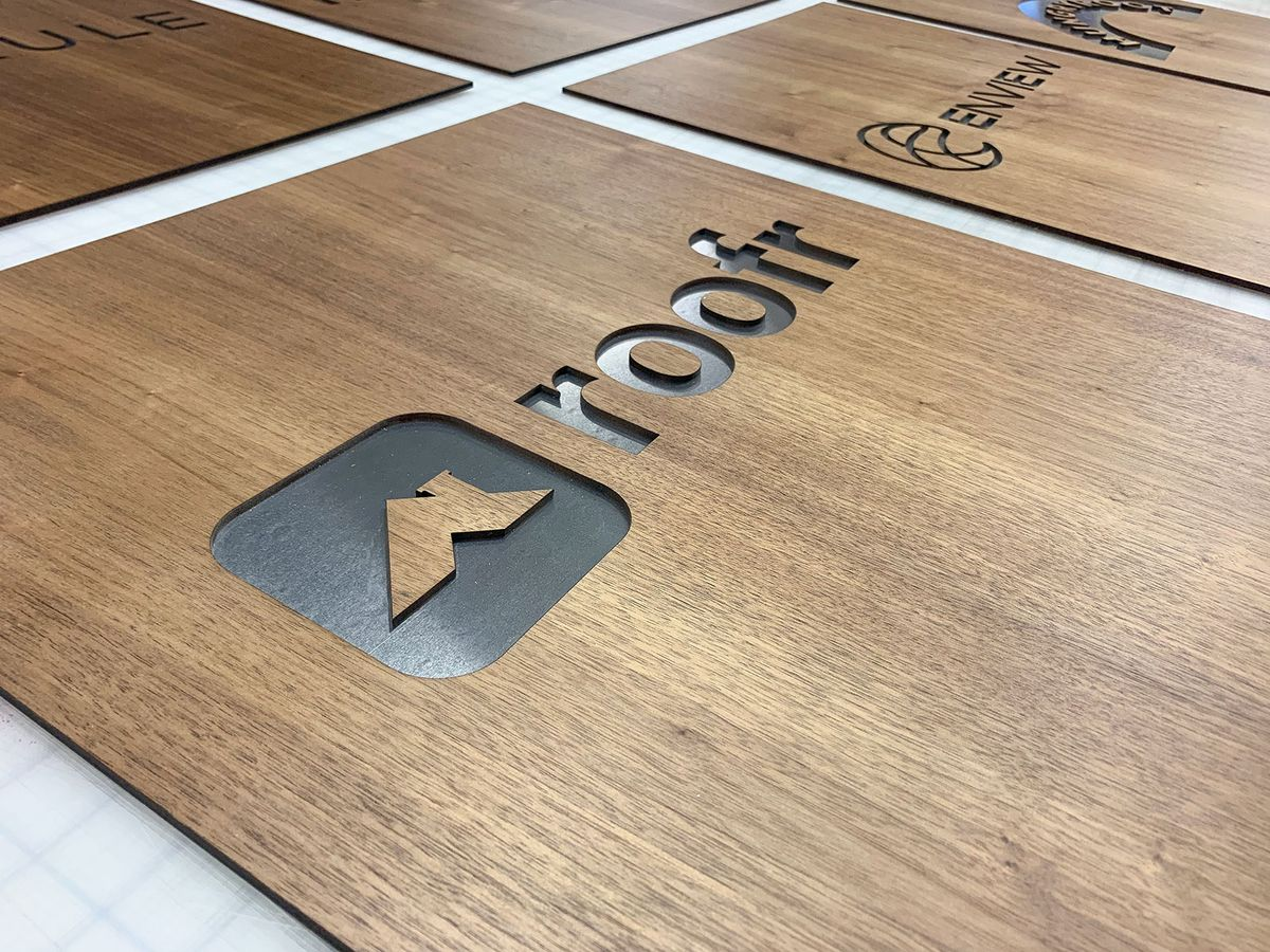 Roofr engraved wooden sign