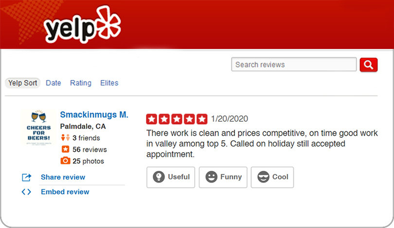 Yelp 5 star review-Frontsigns