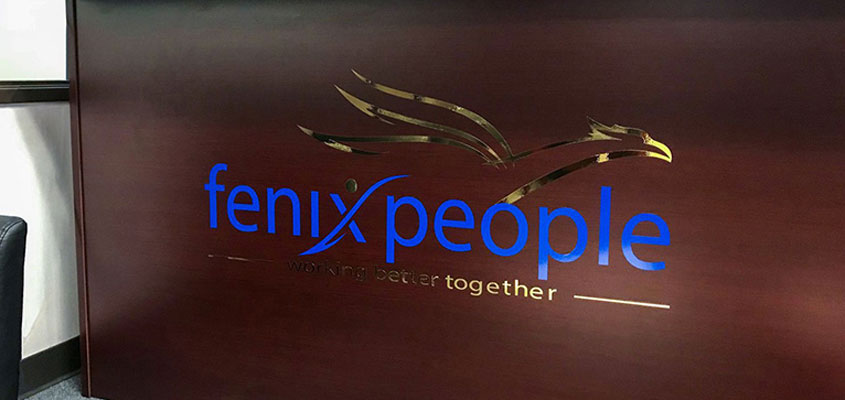 image showing how Fenix People business sign is made from blue and gold vinyl
