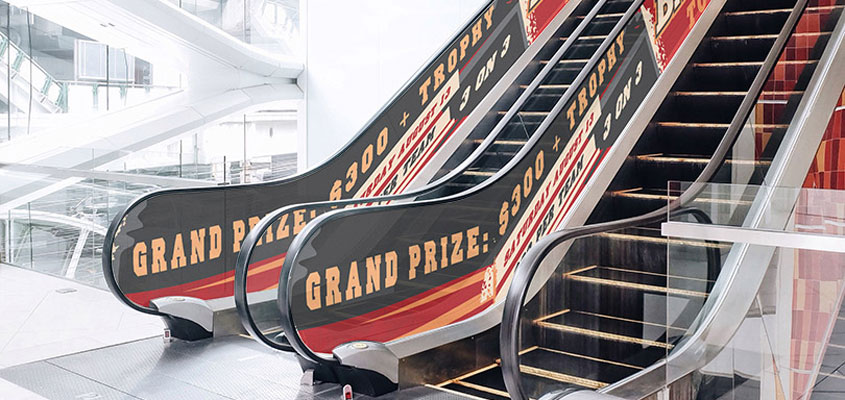 Grand Prize branded elevator for sports event