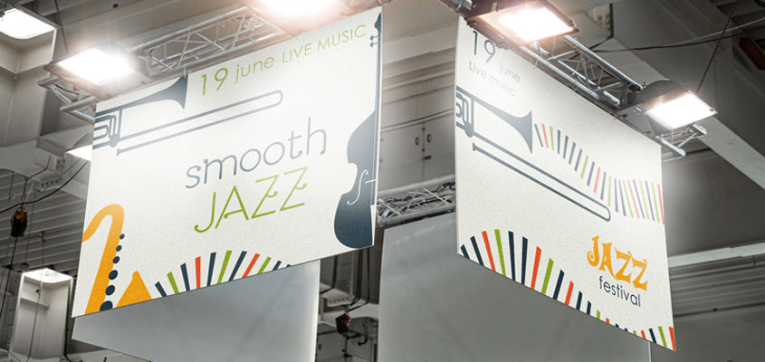 Smooth Jazz hanging display for making a music festival