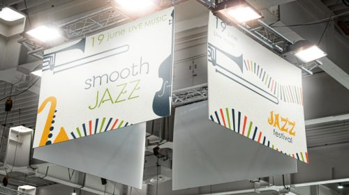 Smooth Jazz event hanging display example