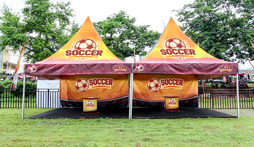 Soccer event branding with tent prints