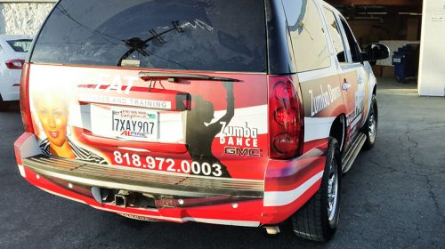 Zumba Dance music event car graphics example-Frontsigns