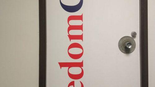 freedom care vinyl lettering
