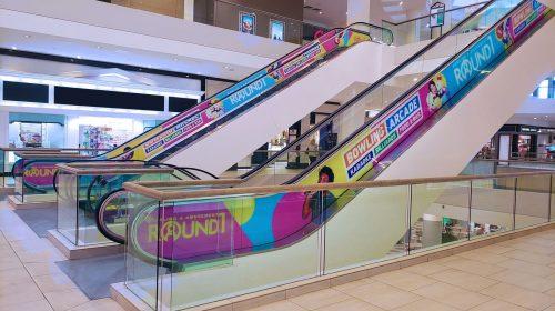 Bowling arcade escalator decals