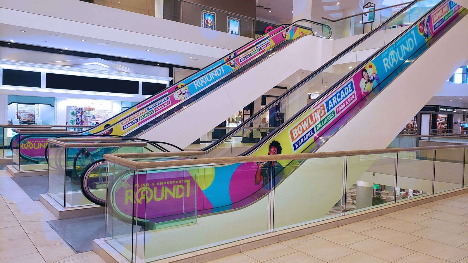 Bowling arcade escalator decals