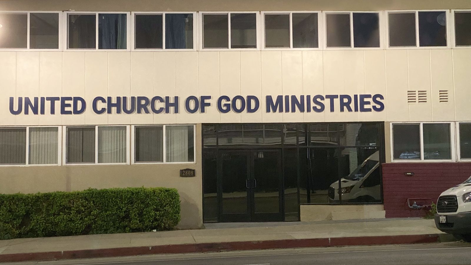 United Church of God Ministries 3d metal sign in dark blue made of aluminum for the church organization exterior branding