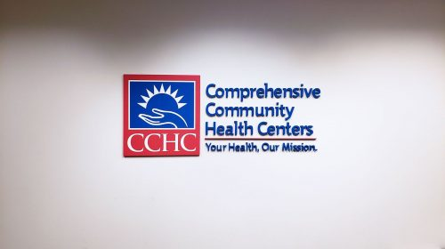 Comprehensive Community Health Centers 3d acrylic letters and logo sign in blue and red