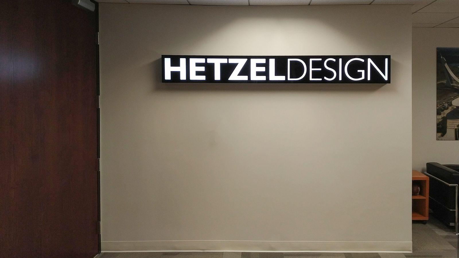 Hetzel Design lobby sign