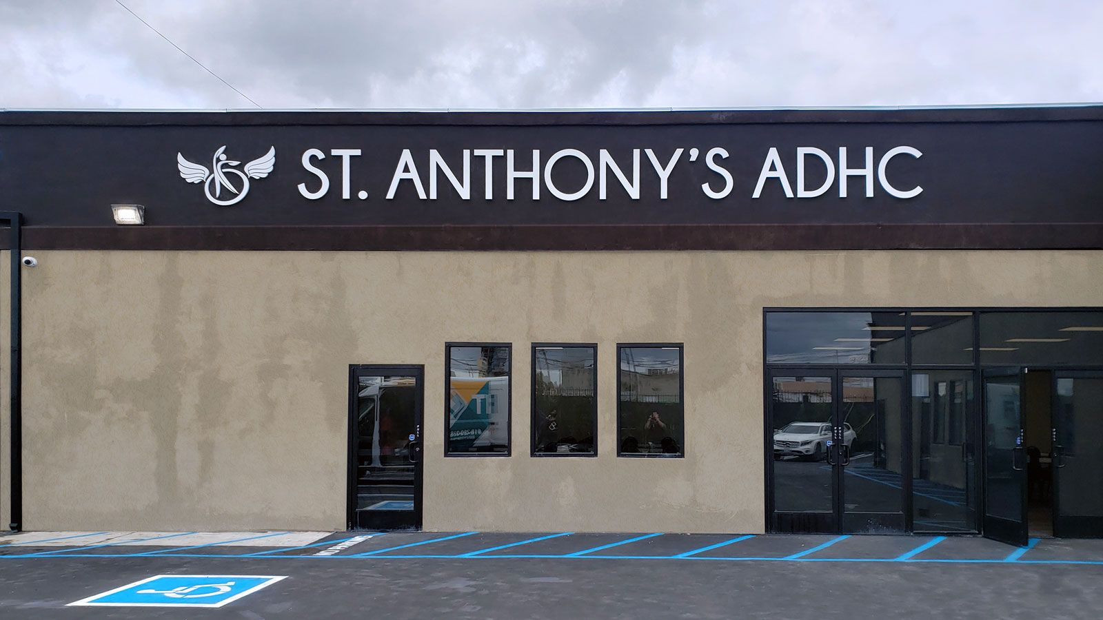 St. Anthony's ADHC custom 3d sign displaying the company name and logo made of aluminum and acrylic for storefront branding