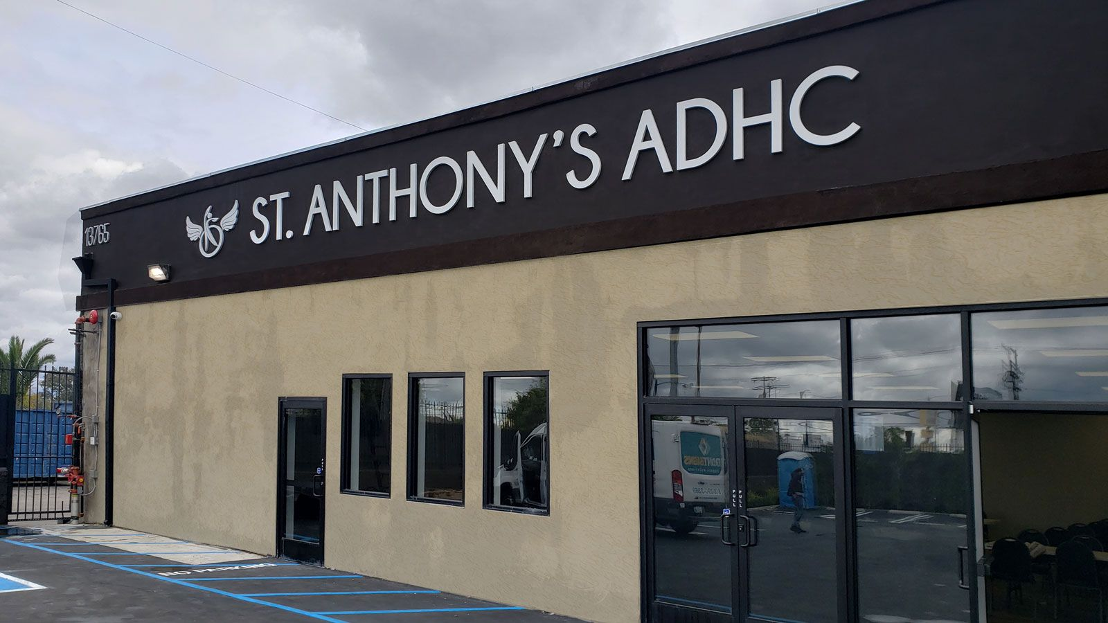 St. Anthony's ADHC 3d logo sign and letters displaying the company name made of aluminum and acrylic for storefront branding