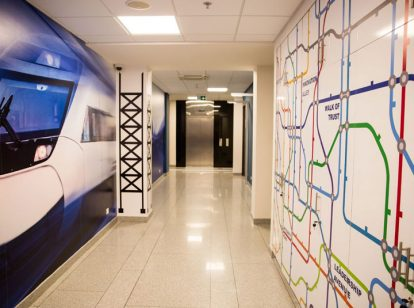 Ameriabank interior design idea with wall patches