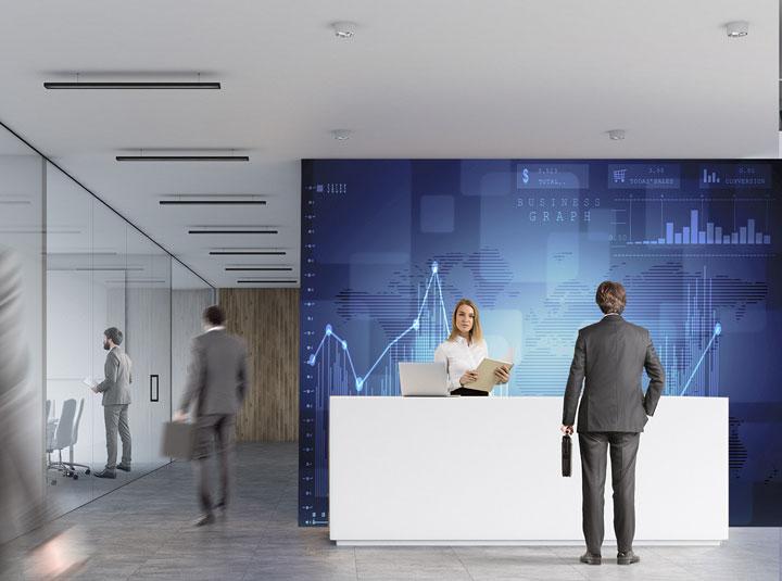 modern bank interior space