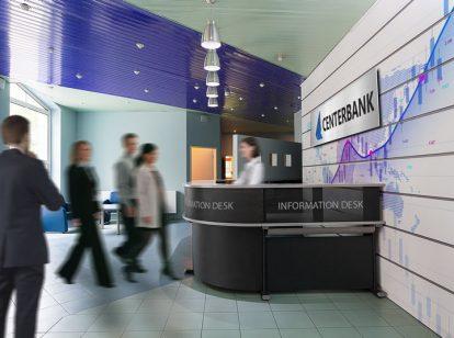 Centerbank information desk design idea