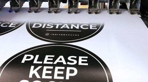 Custom social distance stickers