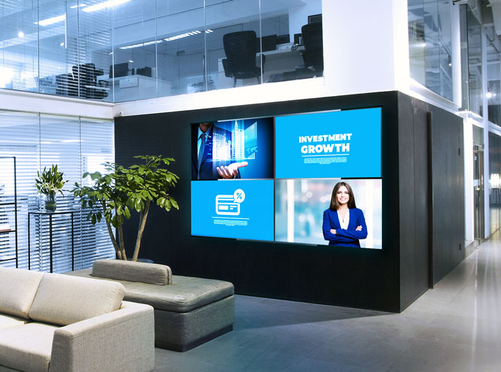 Investment Growth bank interior space with screens