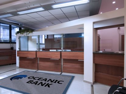 Oceanic Bank interior design idea with branded mat