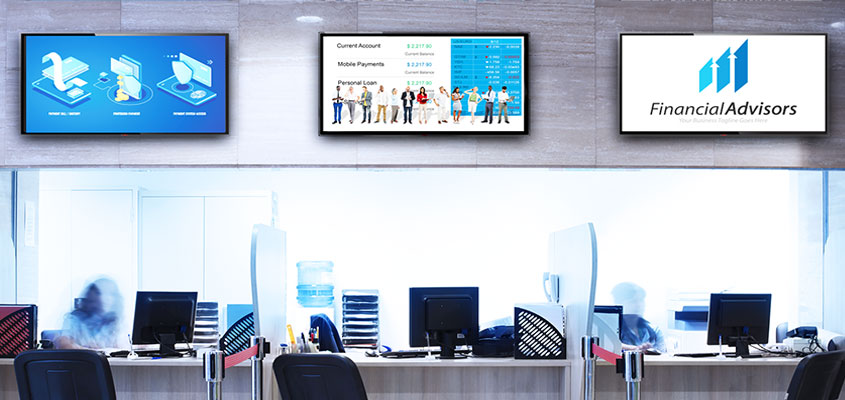 Bank branch advertising idea with digital screens showcasing bank promotional info