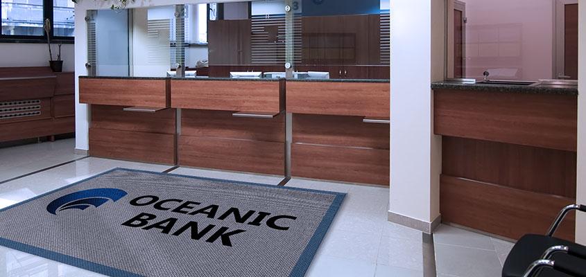 Oceanic bank waiting room doorstep mat as a bank advertising idea