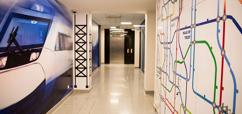 Bank custom wall design concept with colorful patches