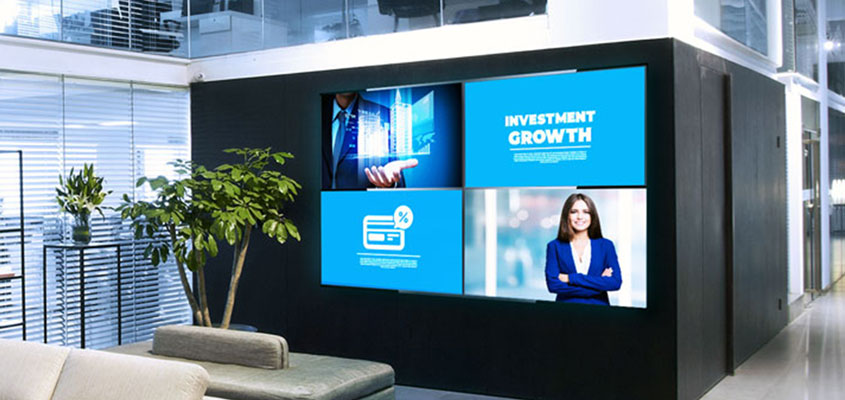Bank digital screen solutions used for bank advertising to create a better interaction