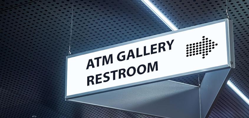Bank restroom directional sign design idea for interior