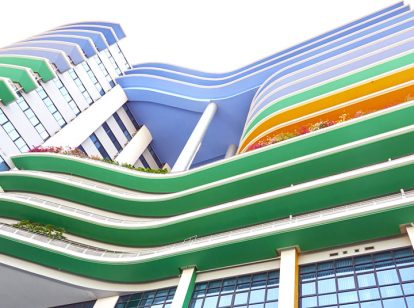 bank exterior design idea with colorful layers