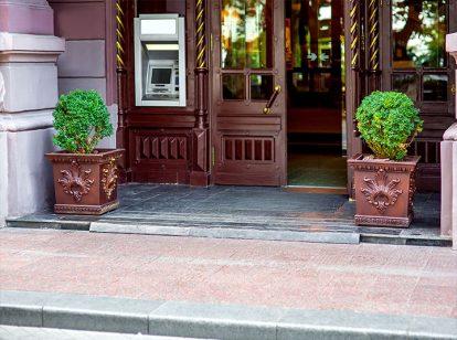 bank exterior design idea with herbs