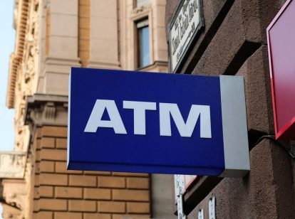 bank exterior design idea with informational note