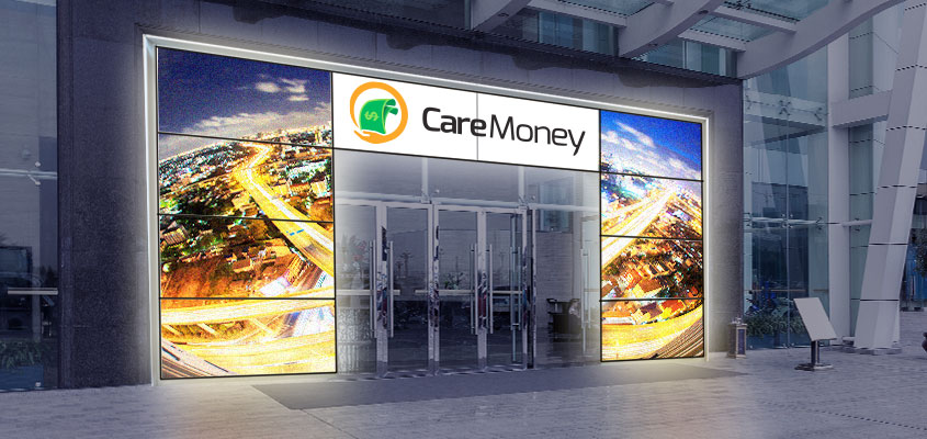 Bank exterior design idea with digital screen solutions