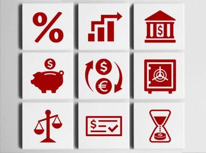 bank interior design idea with persuasive icons