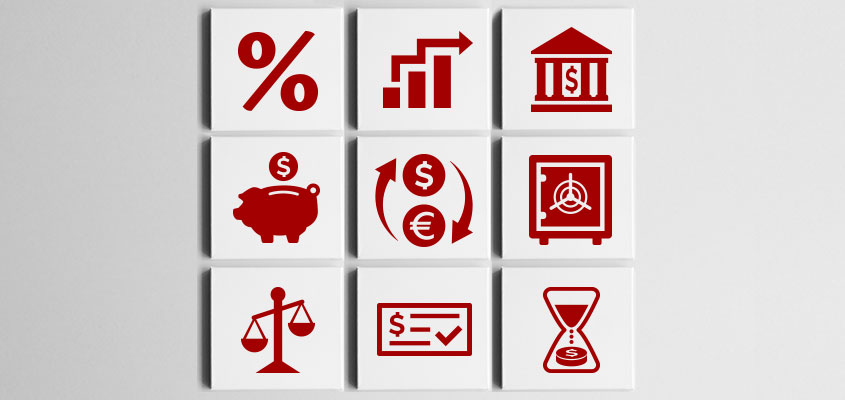 bank thematic interior design idea with currency symbols