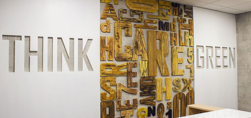 Creative interior marketing idea for a bank with wooden nature elements
