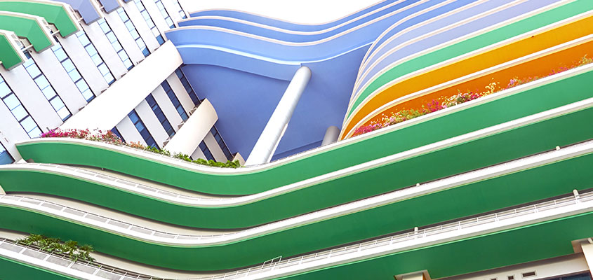 Colorful building layers for bank exterior design