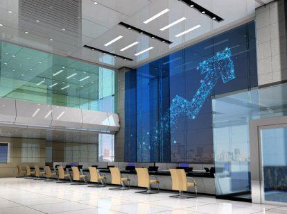 contemporary bank interior space design idea