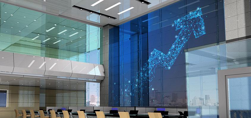 Contemporary bank interior design with digital screen