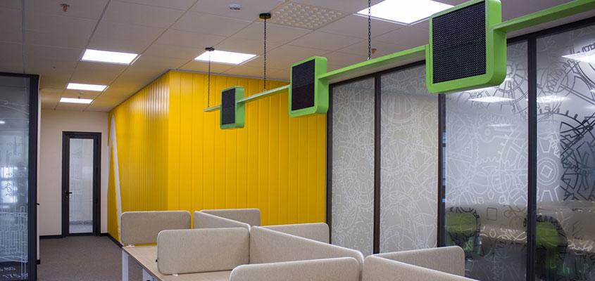 Open space interior design as a creative bank design idea